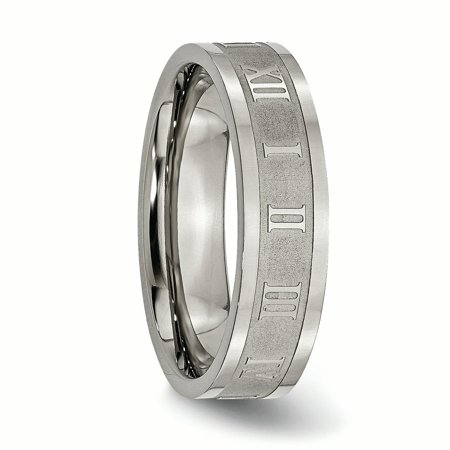 Titanium Roman Numerals 6mm Flat Wedding Ring Band Size 13.00 Designed Fashion Jewelry Gifts For Women For Her - image 4 de 10