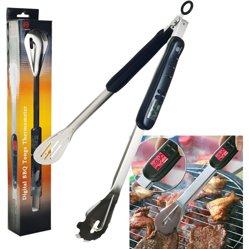 Digital Thermometer BBQ Grill Tongs with LED Light