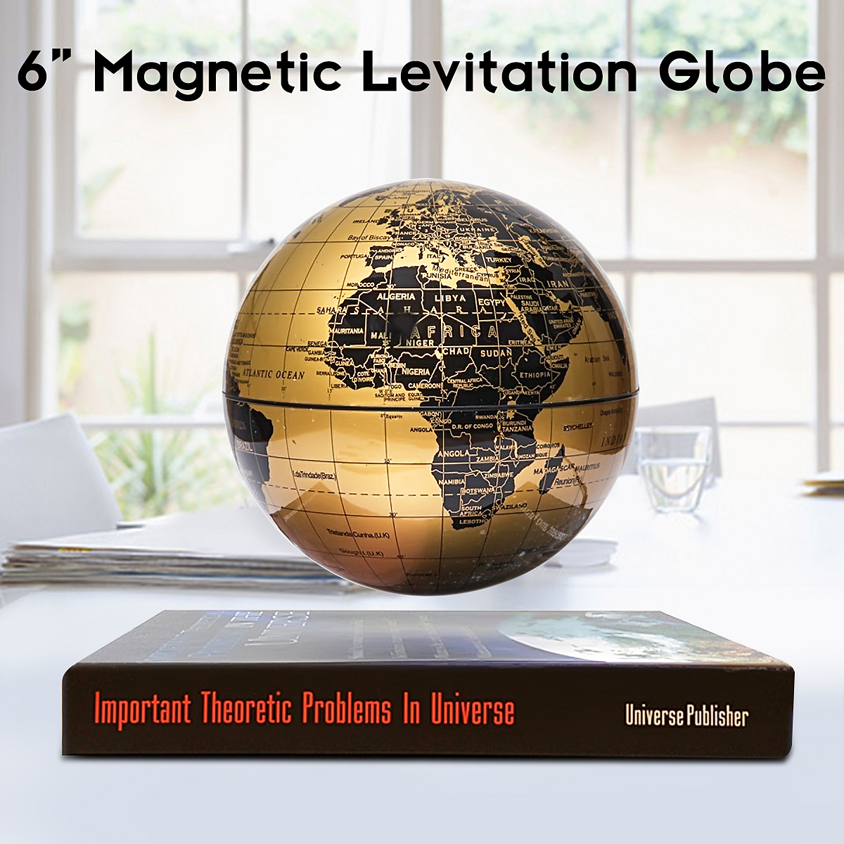 6 inch Levitation Magnetic Rotate World Globe Floating Levitating Earth Map With Bookbase Geography Knowledge... by