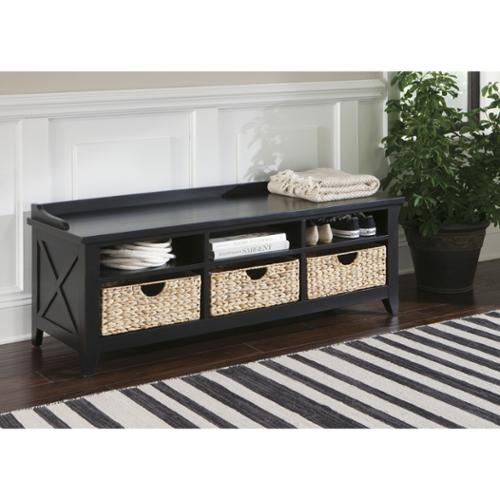 Hearthstone Rustic Black Cubby Storage Bench