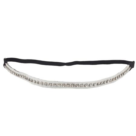 Lux Accessories White PU Leather Crystal Rhinestone Stretch Headbands For Women (Rhinestone Stretch Band)