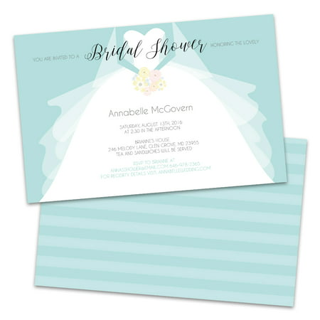 Personalized Wedding Dress Bridal Shower Invitations