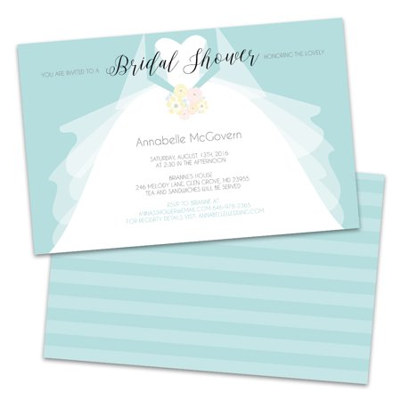 Personalized Wedding Dress Bridal Shower Invitations - Wedding Shower Invites