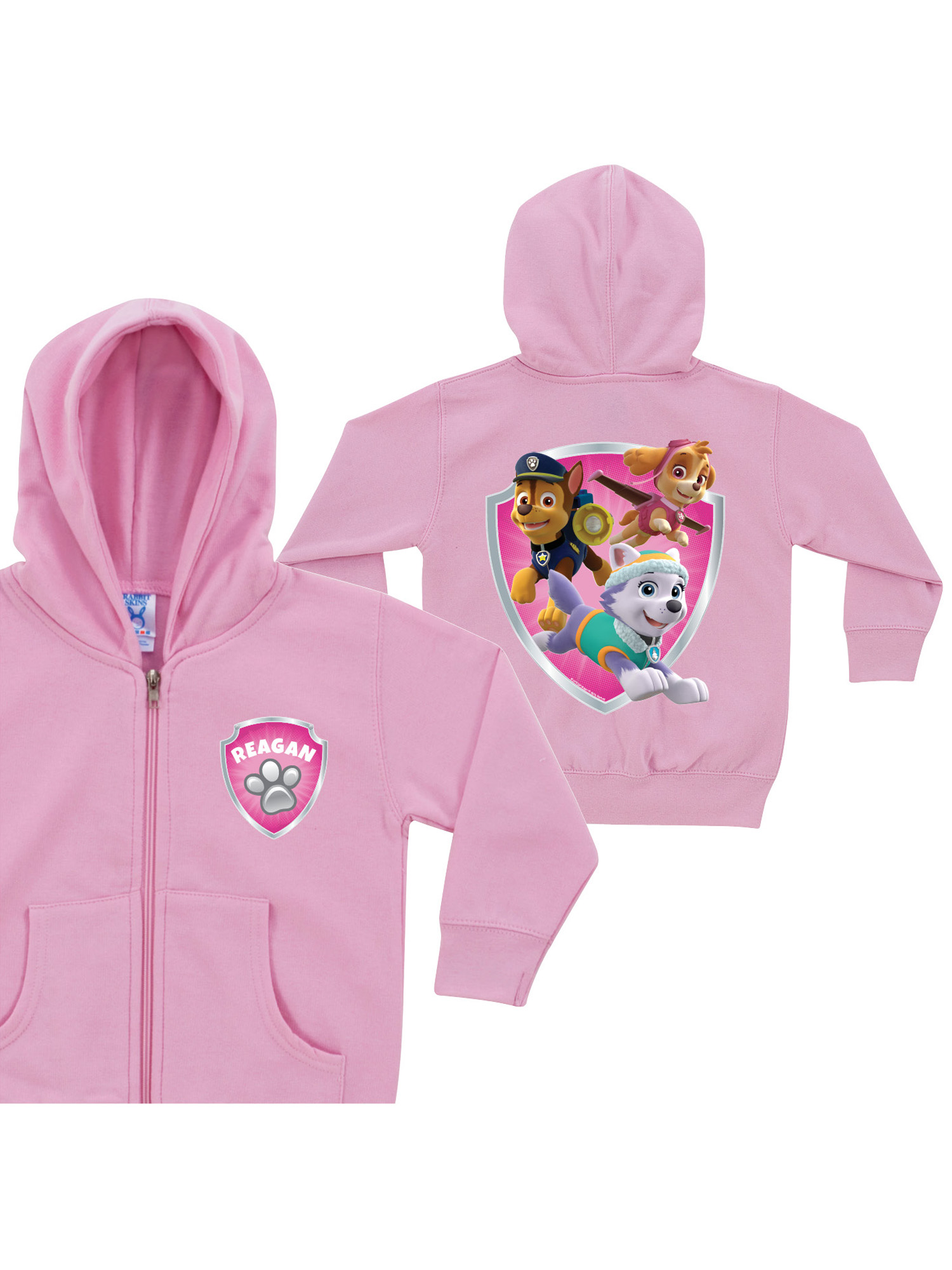 Personalized PAW Patrol Rescue Pups Toddler Girls' Pink Zip-Up Hoodie