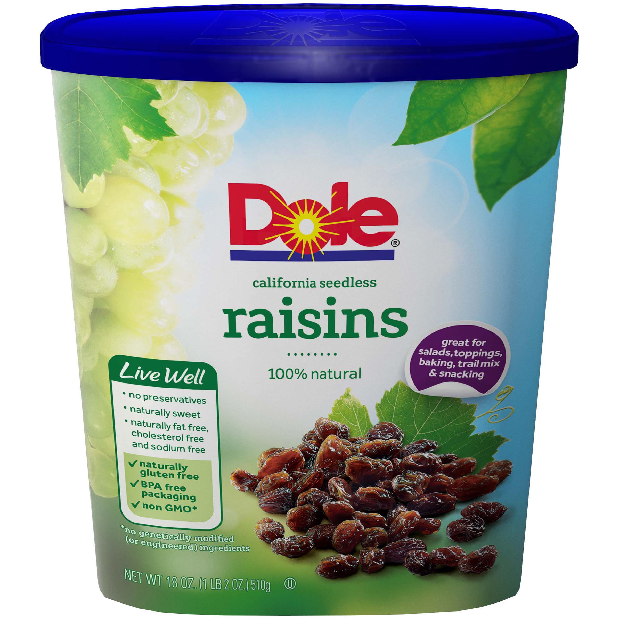 Dole California Seedless Raisins 18 oz. Canister