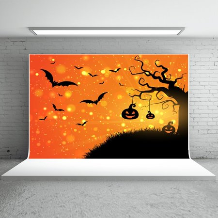 GreenDecor Polyster 7x5ft Halloween Photography Backdrops Gold Glitter Background Black Pumokin Bats for Children Photo Booth Props](Background Halloween Music For Kids)