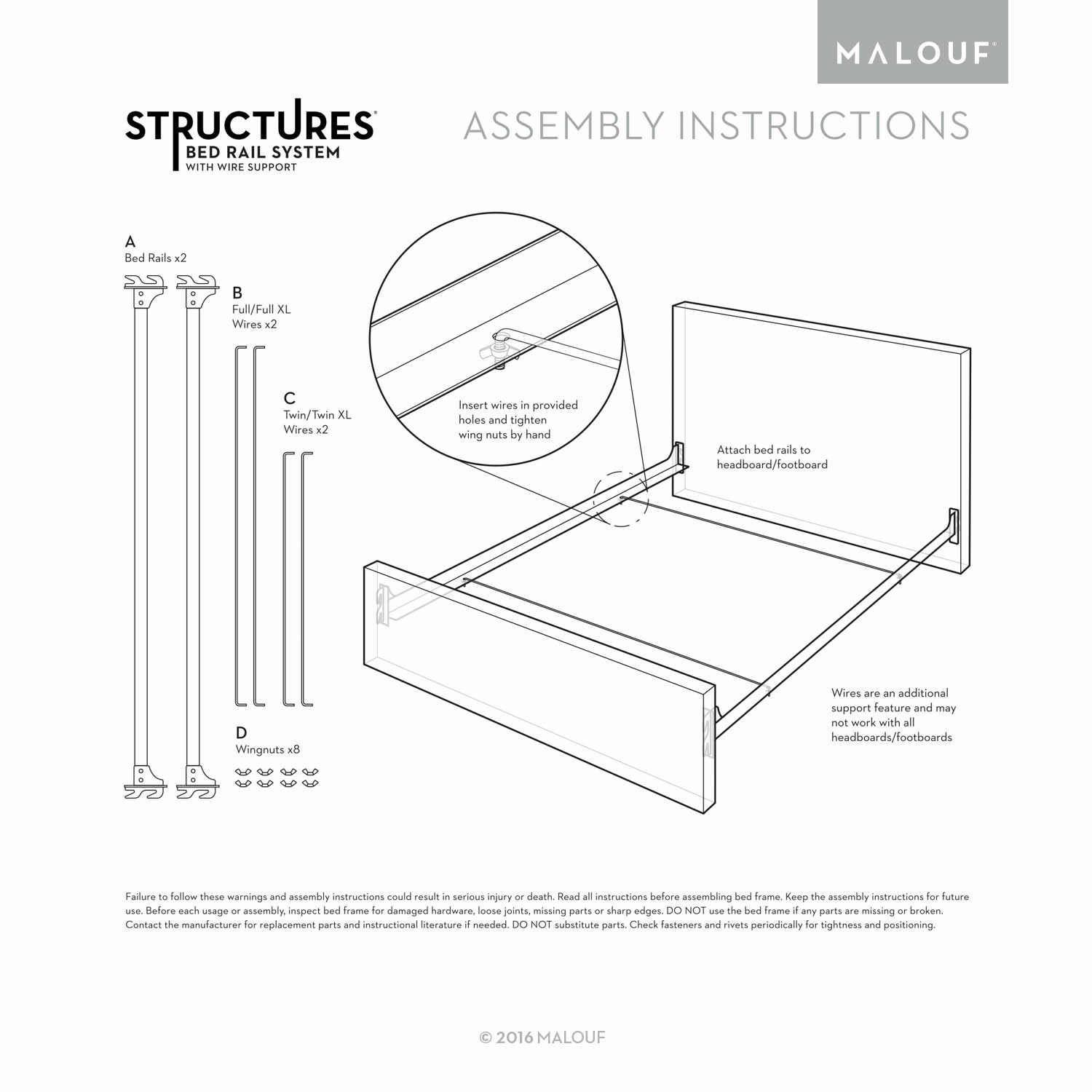 Structures Hook-In Bed Rails with Wire Support System, Queen ... on