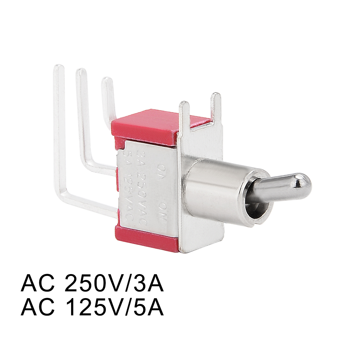 5pcs Ac 250v 3a 125v 5a On Spdt Toggle Switch Side Face Right Switched To The Angled Terminal