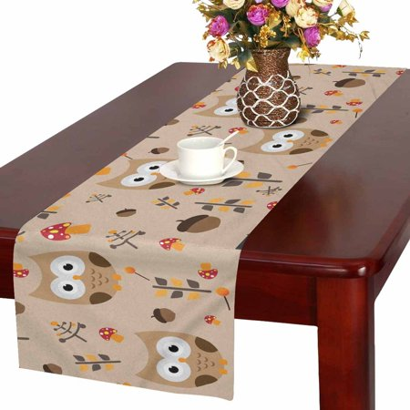 YUSDECOR Cute Owls Table Runner For Wedding Party Decoration Kitchen Decor Decoration 16x72 inch - image 2 de 2