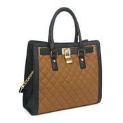 Beaute Bags Metro Large Handbag Padlock Tote Bag Vegan Leather Satchel Shoulder Bag with Top Handle (Cognac-Black Quilted)