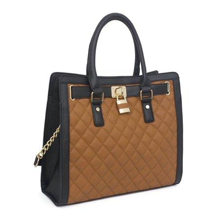 Beaute Bags Metro Large Handbag Padlock Tote Bag Vegan Leather Satchel Shoulder Bag With Top Handle  Cognac Black Quilted