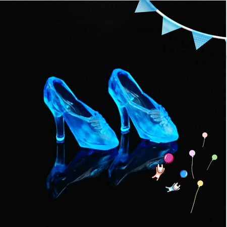 12Pairs Fashion Cute Princess Dolls High Heel Dress Pumps Fairy Tales Shoes Color:Blue - Fairies Shoes