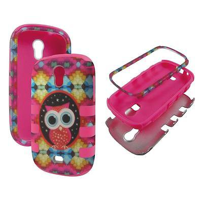 For Samsung Galaxy Light T399 Hybrid Drop Protective Shock Proof Shock Absorb Enhanced Bumper Dual Layer Designer Case Shield Box Pnk Graphic Owl Case Cover cellar