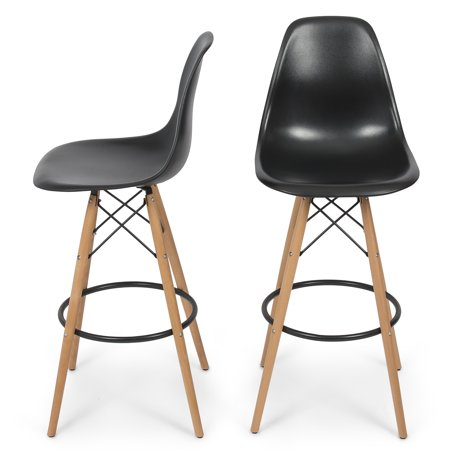 Belleze Set Of Two  2  Retro Chair Style Dsw Bar Stool Modern Barstool Counter W  Natural Legs Wood  Black
