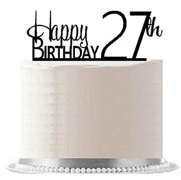 Item#AE-130 Happy 27th Birthday Agemilestone Elegant Cake Topper