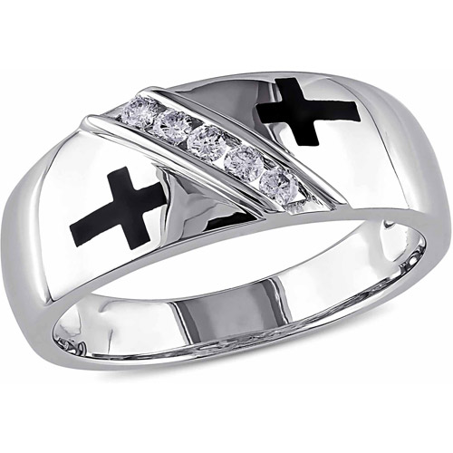 Miabella 1/6 Carat T.W. Diamond 10kt White Gold Religious Men's Ring