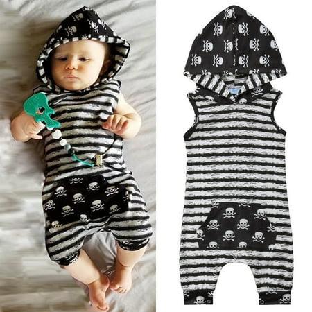 108d6ca087d9 Newborn Baby Boys Summer Clothes Hooded Tops Romper Bodysuit ...