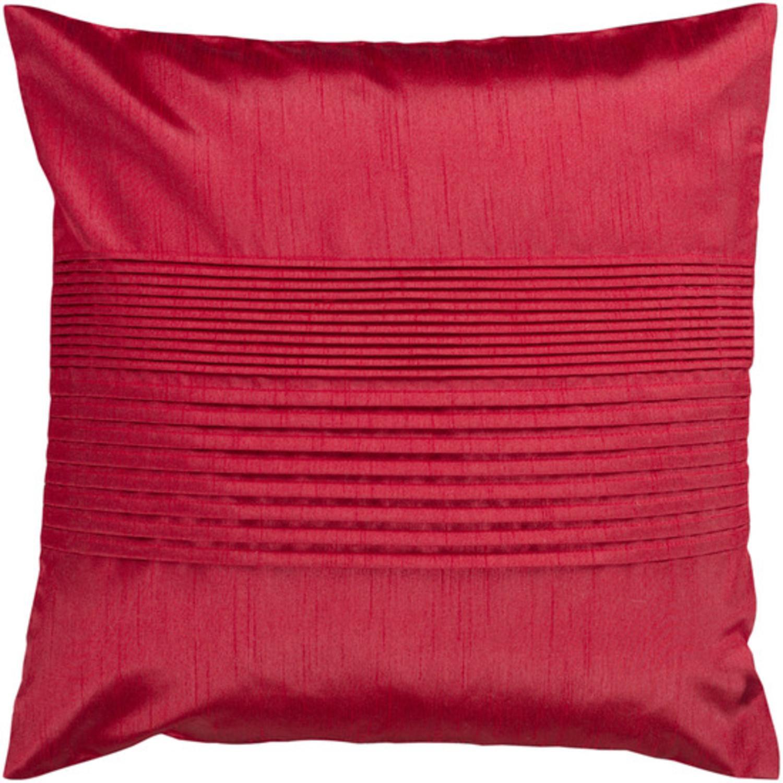"18"" Venetian Red Tuxedo Pleats Decorative Down Throw Pillow"