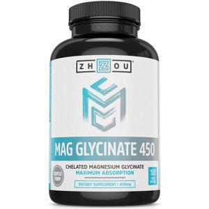 Magnesium Glycinate Chelate 450 mg - Magnesium Supplement in Chelated Form for High Absorption and Gentle Digestion, Non-GMO, Vegan, Gluten Free, Soy Free, 180 Capsules