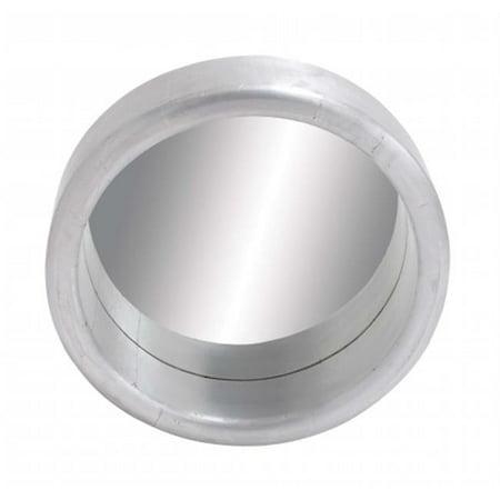 Woodland 28610 Sleek and Gorgeous Porthole Shaped Wood Metal Clad Mirror in Silver White Finish