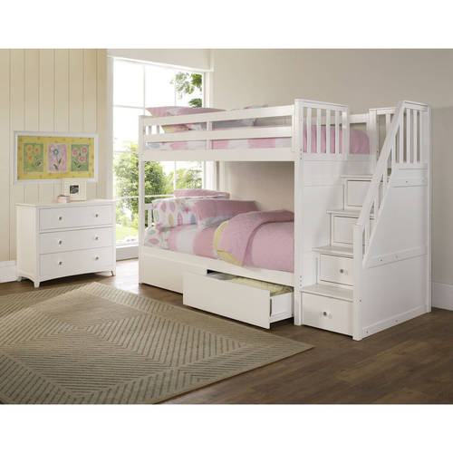barrett stair twin over twin wood bunk bed with storage white finish