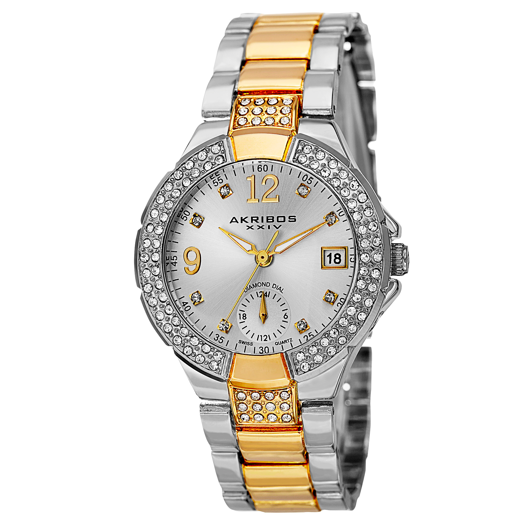Akribos XXIV Women's Swiss Quartz Diamond Markers Dual Time Two-Tone Bracelet Watch