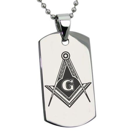 Stainless Steel Freemasons Masonic Royal Compass Engraved Dog Tag Pendant Necklace