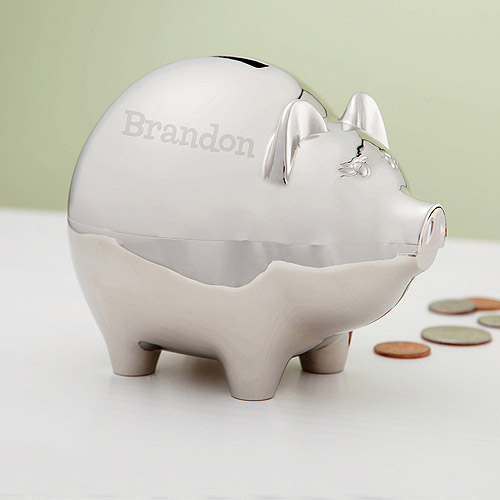 Personalized Silver Piggy Bank For Him