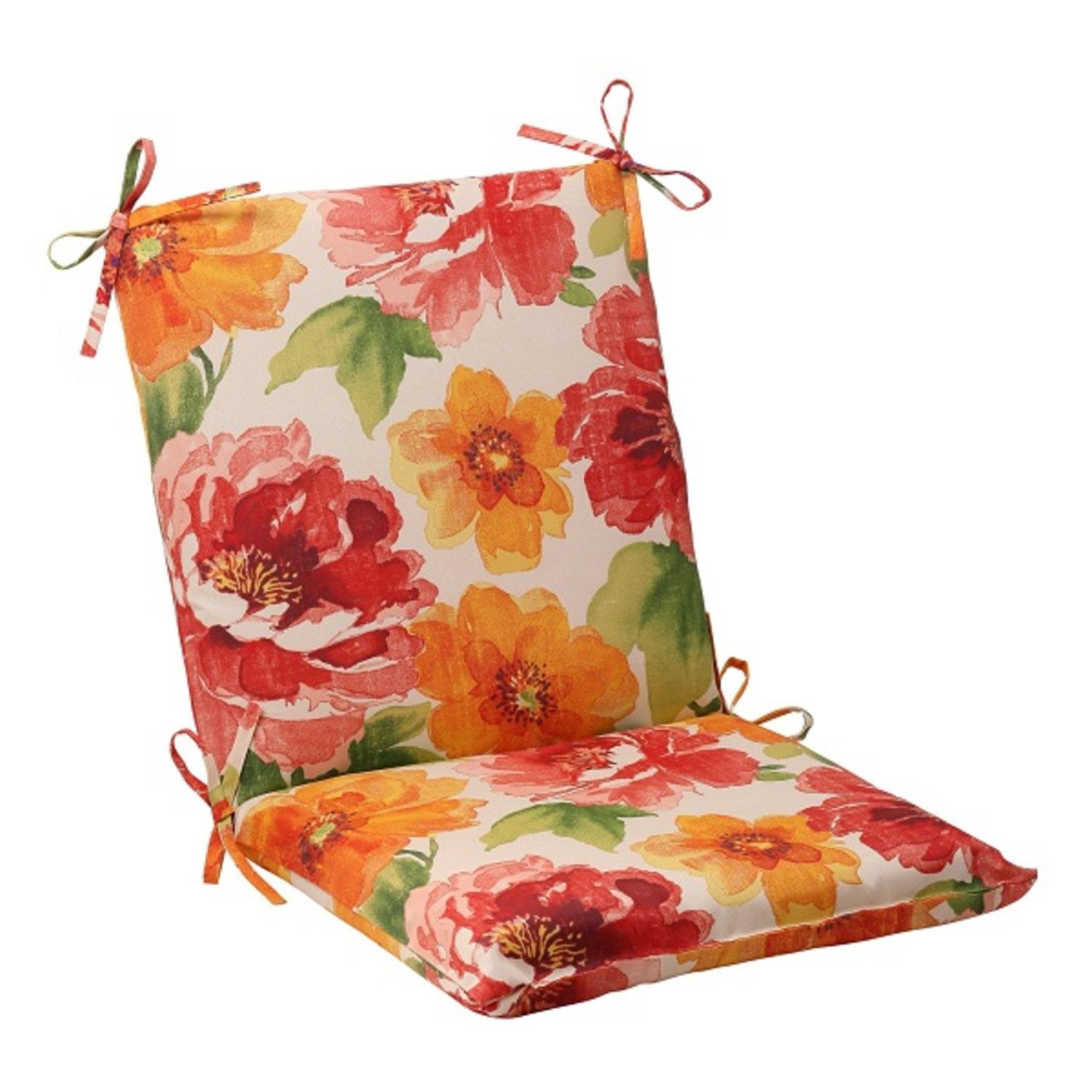"36.5"" White Floral Splash Outdoor Patio Squared Chair Cushion with Ties"
