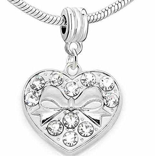 Bowknot in Heart with Clear  Rhinestones Dangle Bead Spacer for snake Chain charm Bracelet