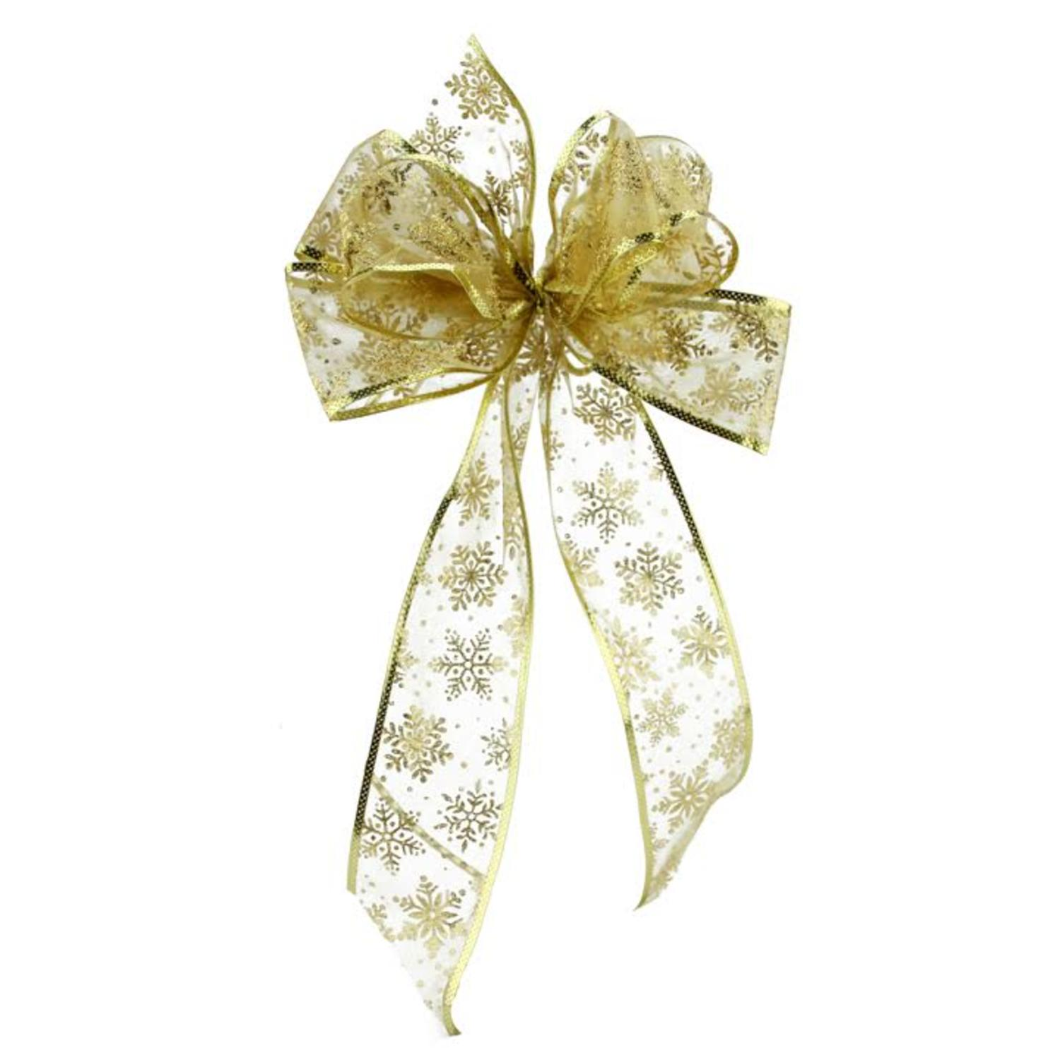 "8"" x 16"" Sheer Gold with Sparkling Snowflakes 6 Loop Bow Decoration"