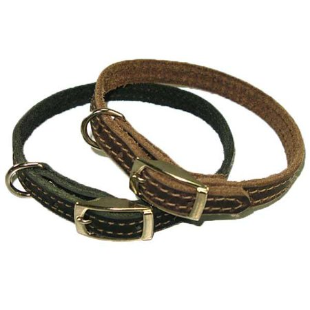 """1/2"""" Handmade Solid Buffalo Leather Dog Collar with Stitched Edges - Brown 16"""""""