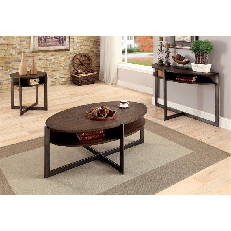 Furniture of America Prontus 3 Piece Coffee Table Set in Dark Oak