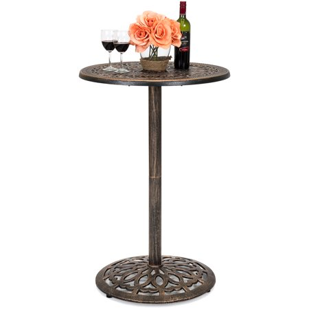 Best Choice Products Outdoor Round Bar Height European Style Cast Aluminum Bistro Table, (Bar Height Umbrella Table)