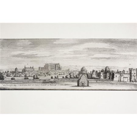 London, England. St Jamess Palace, Westminster Hall & Pall Mall In 1660 From A Contemporary Drawing From Memoirs of The Martyr King By Allan Fea Published 1905 Poster Print, 18 x 12