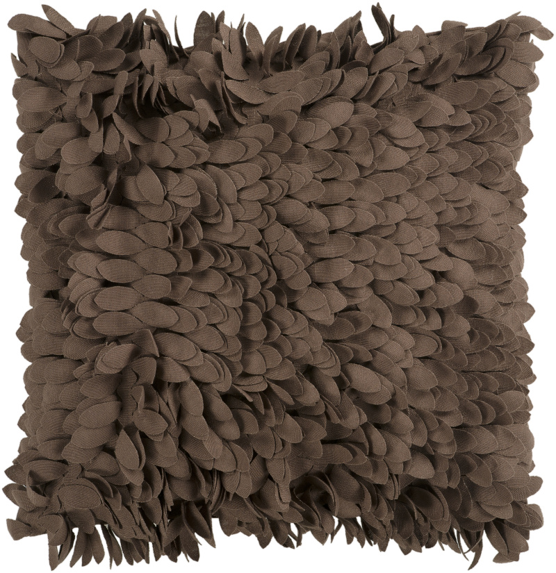 """22"""" Brown Feather-Like Confetti Petals Dimensional Decorative Throw Pillow"""