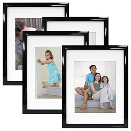 mcs 11x14 gallery picture frame matted to display 8x10 pictures glass front black 4 pack. Black Bedroom Furniture Sets. Home Design Ideas