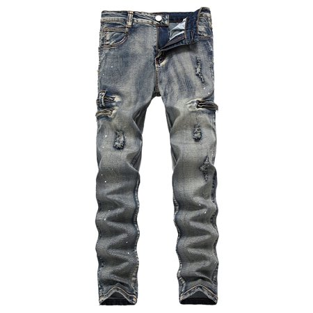 Men's Ripped Jeans Black Slim Fit Motorcycle Jeans Men Vintage Distressed Denim Jeans Pants ()