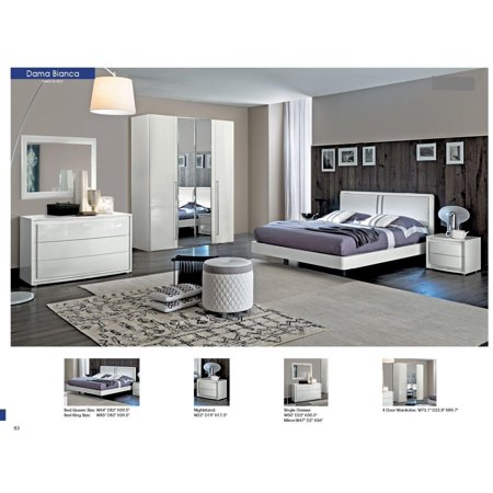 ESF Dama Bianca Modern White Leather High Gloss King Size Bedroom ...
