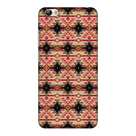 Vivo Y66 Case - Tribal tessellations- Sand yellow, Hard Plastic Back Cover, Slim Profile Cute Printed Designer Snap on Case with Screen Cleaning Kit - Halloween Tessellations