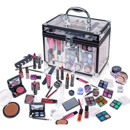 SHANY Carry All Trunk Makeup Set (Eye shadow palette/Blushes/Powder/Nail Polish and - Black Angel Halloween Eye Makeup