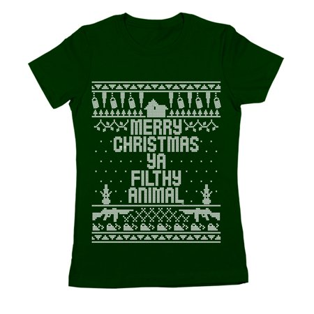 Home Merry Christmas Ya Filthy Animal Small Forest Green Women's Jr Fit T-Shirt