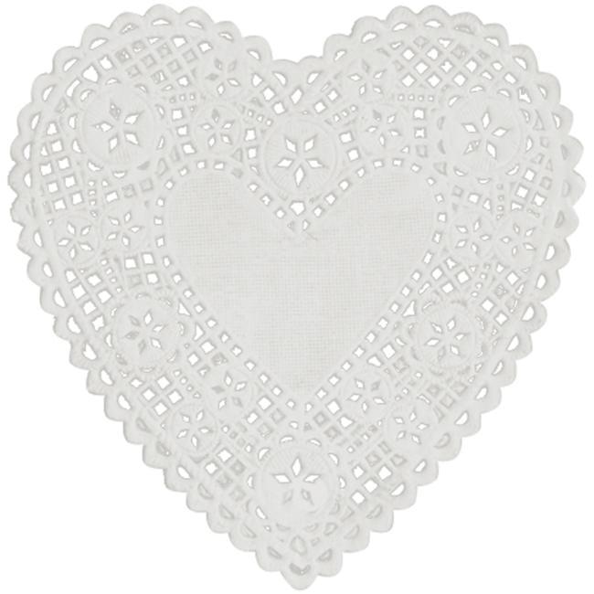 Royal Lace 230H-18 6'' White Heart Paper Doilies - White
