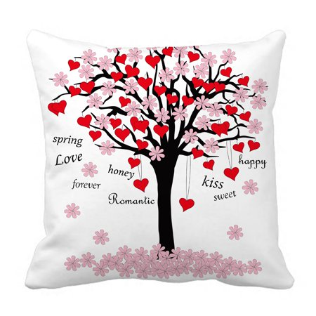 Valentino Spring (YKCG Spring Tree of Love Pink Red Valentine's Day Pillowcase Pillow Cushion Case Cover Twin Sides 18x18 inches)