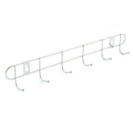 Uxcell Household Silver Tone Metal Door Wall Mount 6 Hooks Towel Cap Rack Hanger Holder