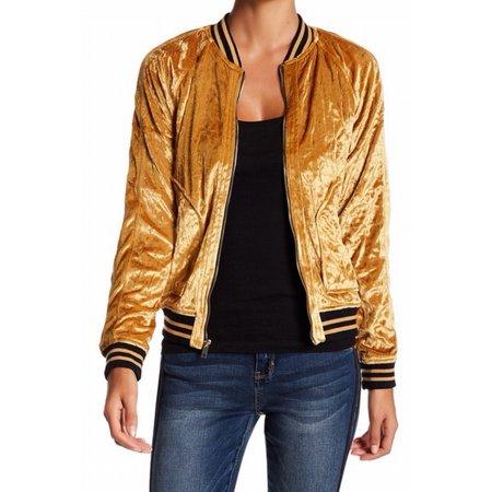 f0c15825edeeb Jolt - Jolt NEW Gold Womens Size Large L Velvet Quilted Front-Zip Bomber  Jacket - Walmart.com