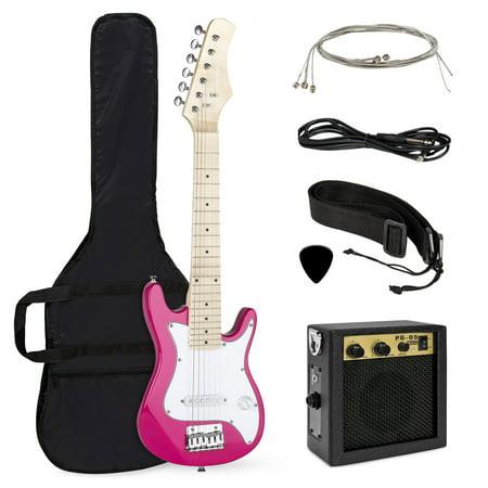 Best Choice Products 30in Kids 6-String Electric Guitar Beginner Starter Kit w/ 5W Amplifier, Strap, Case, Strings, Picks - Pink