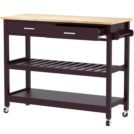Clevr Rolling Kitchen Cart Island Trolley with Rubberwood Top & Towel Rack, Walnut Color