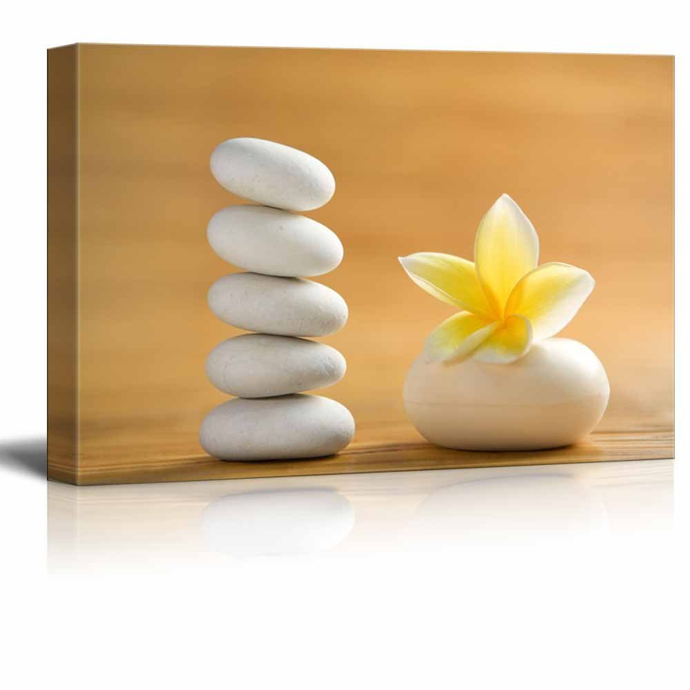 """Canvas Prints Wall Art - Spa Still Life with Aromatic Candles and Zen Stones 