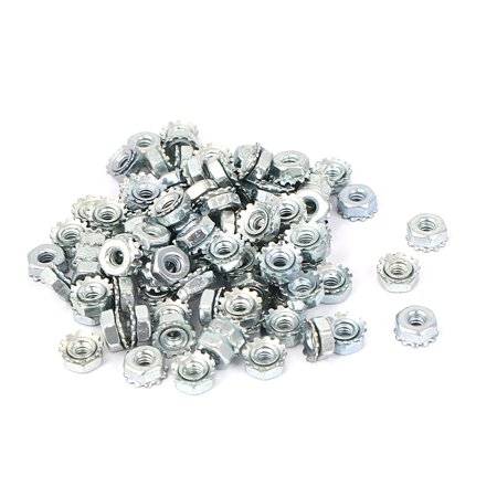 4#-40 Female Thread Zinc Plated Kep Hex Star Lock Nut 100pcs